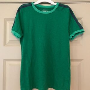 ❄️ Crewcuts size 14 green T w/ ringer stripes